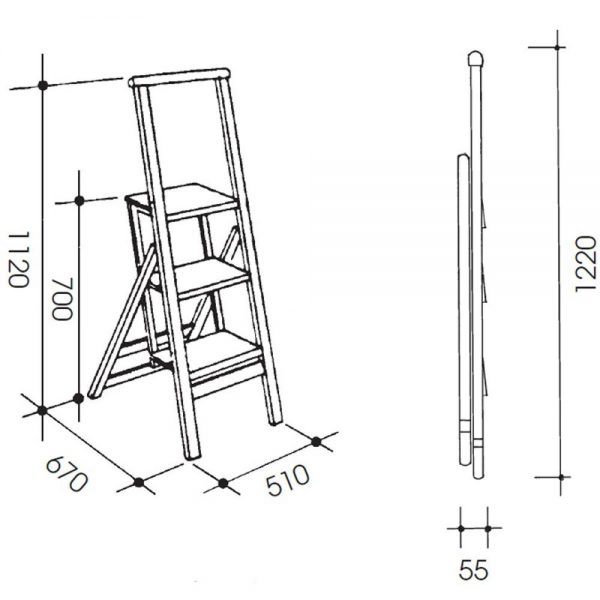 Billy 3 - functioneel opvouwbare trapladder